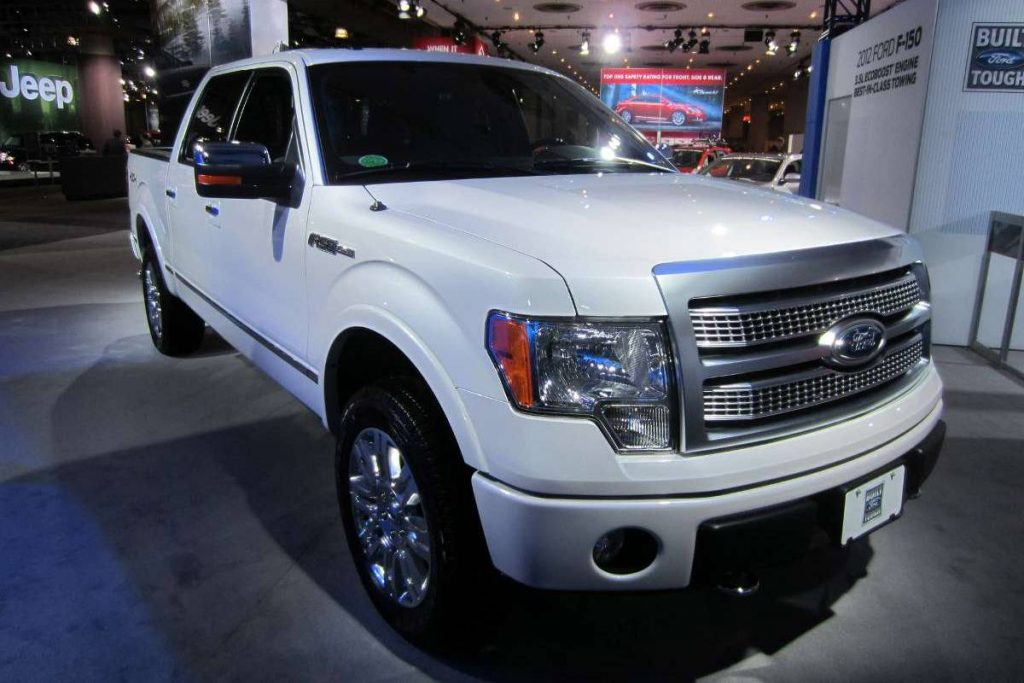 Ford f-150 white truck at an angle